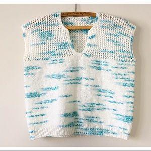 Vintage 80s Short Sleeve Sweater Marled Blue L